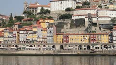Porto, Portugal boat and river Stock Footage