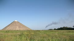 Smokestack in the field - stock footage