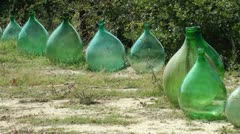 Old wine bottles from Tuscany, Italy - stock footage