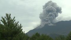 Sakurajima Volcano Erupts Ash Cloud Stock Footage