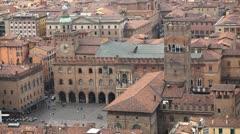 Basilica di San Petronio, HD Aerial View of Bologna, Italy, Piazza Maggiore Stock Footage