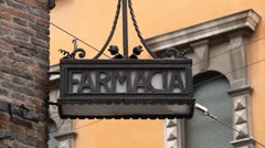 Pharmacy, Drugstore on Bologna Street, European Old Street, Italy Stock Footage