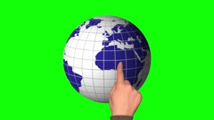 Hand and touchscreen. Earth. globe 2 Stock Footage