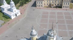 Churches in Vologda in central square, time lapse Stock Footage