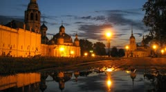 Puddle in front of Vologda Kremlin, time lapse Stock Footage