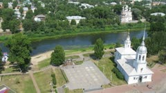 Alexander Nevskiy Church in Vologda near calm river, time lapse Stock Footage