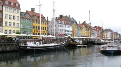 Ship traffic at Nyhavn canal Stock Footage