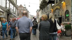 Crowded Stroget shopping area Stock Footage