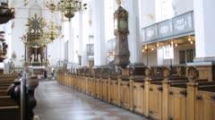 Inside Trinitatis Kirke in Copenhagen, out of focus view Stock Footage