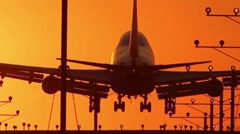 Jumbo Jet Landing Crop with audio Stock Footage
