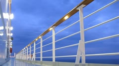 Cruise liner deck at evening time, time lapse Stock Footage