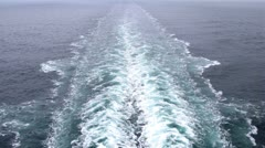 Foam left as ship go ahead, view from cruise liner stern Stock Footage