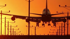 Jumbo Jet Landing Wide to blur out with Audio - stock footage