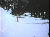 Stock Video Footage of 1970's skiers--From film