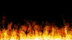 Wall of fire seamlessly loopable and tileable horizontally Stock Footage