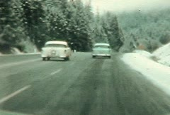 1950's Winter drive Stock Footage