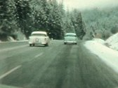 Stock Video Footage of 1950's Winter drive