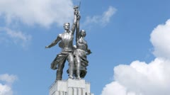 Rabochiy i Kolkhoznitsa monument, side view, time lapse Stock Footage