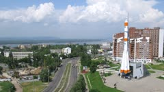 Real Soyuz type rocket as monument in Samara, time lapse Stock Footage