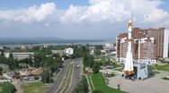 Stock Video Footage of Real Soyuz type rocket as monument in Samara, time lapse