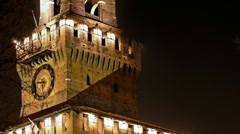 Castello sforzesco milan italy - night view Stock Footage