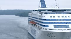 SILJA LINE cruise liner go by Stock Footage