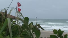 No Swimming Red Flags Life Guard Tower Stock Footage