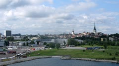 Mix of old and new buildings in Tallinn city centre, time lapse Stock Footage