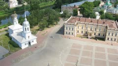 Old central square in Vologda, time lapse Stock Footage