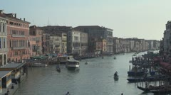 Boats and gondola traffic on Grand Canal, Venice, Italy Stock Footage
