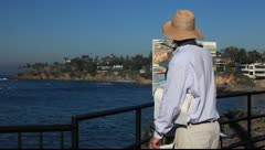 laguna beach painter - stock footage