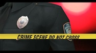 Crime scene tape with police officer 1 Stock Footage