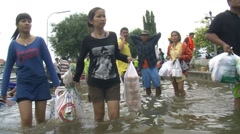 Refugees Climate Change FLOOD WATER Submerge Natural DISASTER, Thailand 2011 924 Stock Footage