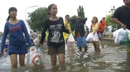 Stock Video Footage of Refugees Climate Change FLOOD WATER Submerge DISASTER, Thailand 2011 924