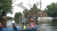 Stock Video Footage of Flood Waters Submerge Ayutthaya, Thailand, October 12, 2011 921