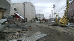 Japan Tsunami Aftermath - Streets In Port Strewn With Debris Stock Footage