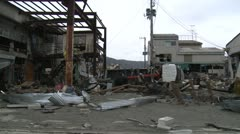 Japan Tsunami Aftermath - Damage To Industrial Buildings - stock footage