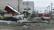 Japan Tsunami Aftermath - Destroyed Buildings And Vehicles Stock Footage