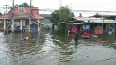 Flood Waters NATURAL DISASTER Global Warming Climate Change, Thailand, 2011 909 Stock Footage