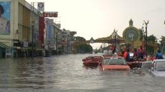 Flood Waters Submerge Ayutthaya, Thailand, October 12, 2011 911 Stock Footage