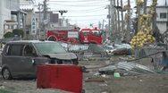 Japan Tsunami Aftermath - Destruction In Port Area Stock Footage