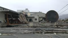 Japan Tsunami Aftermath - Destruction In Port Area In Ishinomaki City - stock footage