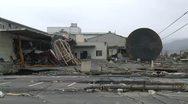 Japan Tsunami Aftermath - Destruction In Port Area In Ishinomaki City Stock Footage