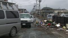 Japan Tsunami Aftermath - Trash Filled Street In Ishinomaki City Stock Footage