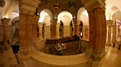 The Crypt at Basilica Church of the Dormition, Jerusalem Stock Footage