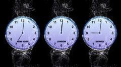 World Clock 3 - LONDON, NEW YORK, SYDNEY Stock Footage