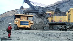 A large multi-ton truck with coal Stock Footage