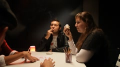 Bad habits. Smoking and overeating Stock Footage