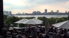 NY Cafe overlooking Hudson River, Chelsea. Stock Footage