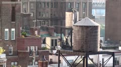 Rooftop water tanks, New York City Stock Footage